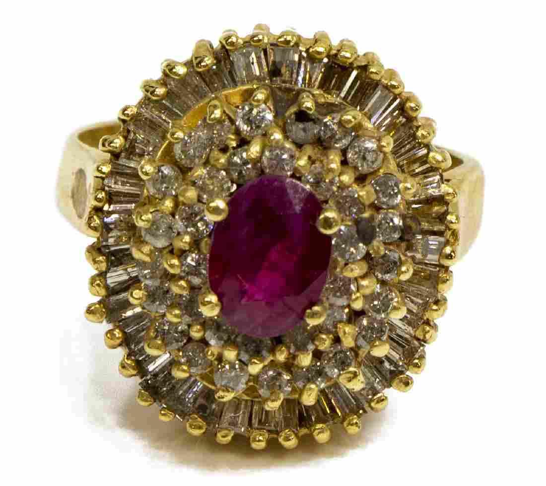ESTATE 14KT GOLD, RUBY & DIAMOND COCKTAIL RING
