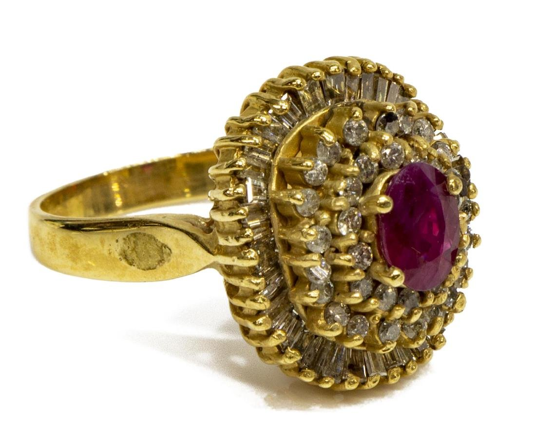 ESTATE 14KT GOLD, RUBY & DIAMOND COCKTAIL RING - 2