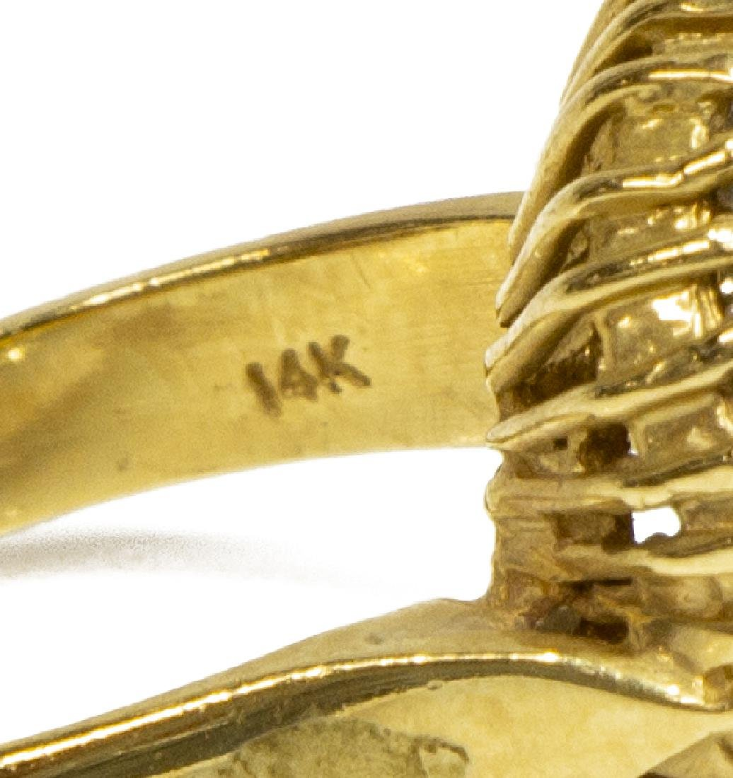 ESTATE 14KT GOLD, RUBY & DIAMOND COCKTAIL RING - 3