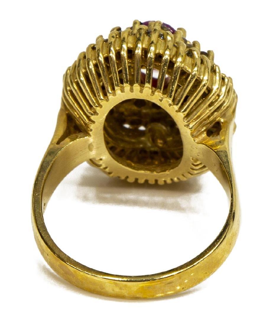 ESTATE 14KT GOLD, RUBY & DIAMOND COCKTAIL RING - 4