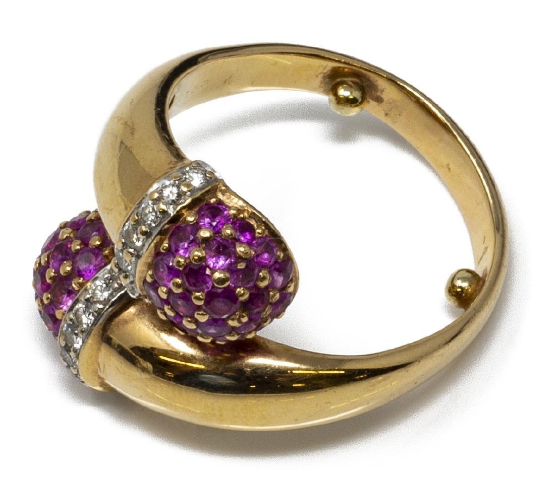 ESTATE 18KT GOLD, RUBY & DIAMOND DESIGN RING