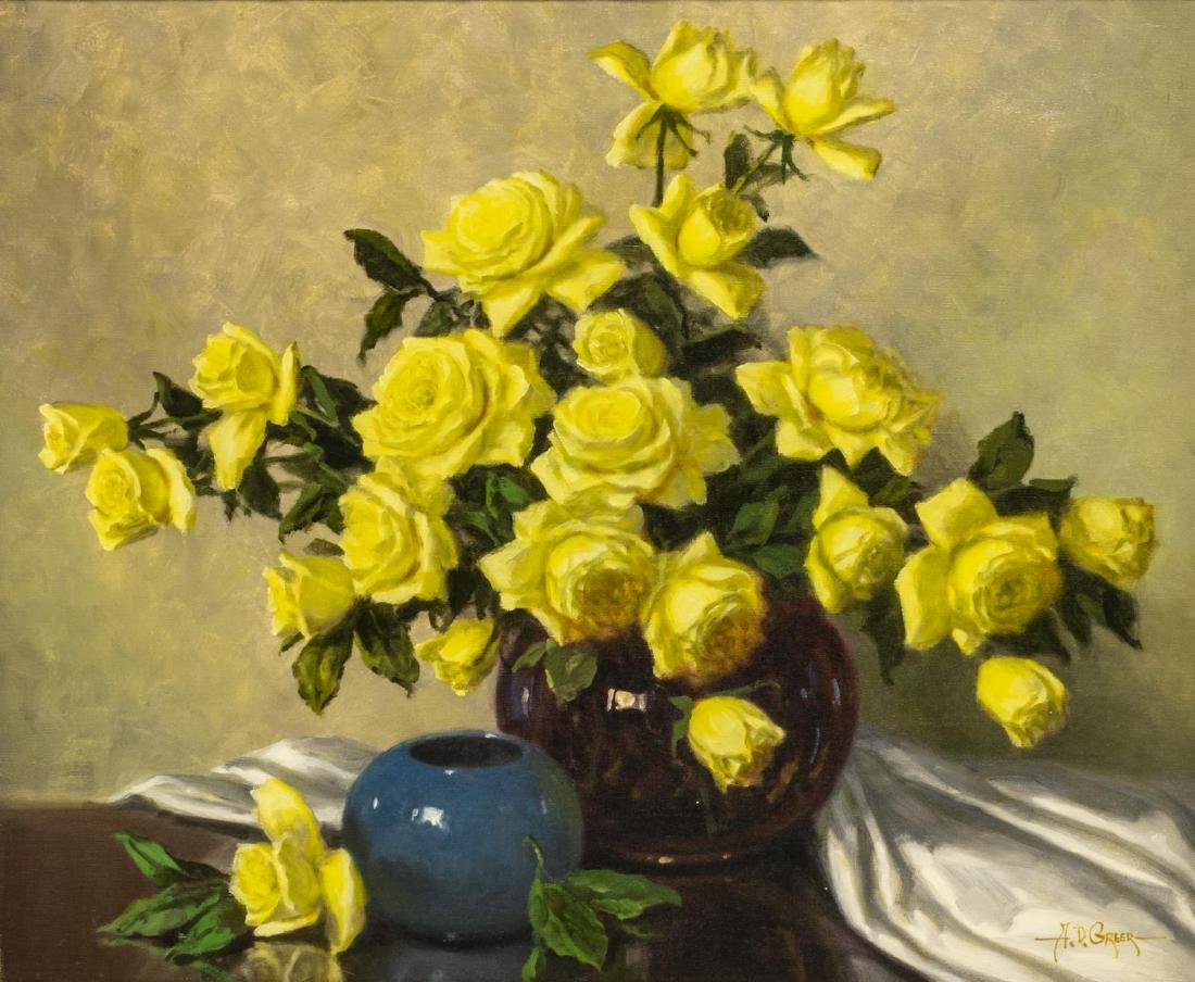A.D. GREER (1904-1998), YELLOW ROSES