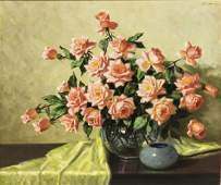 A.D. GREER (1904-1998) LARGE PINK ROSES PAINTING