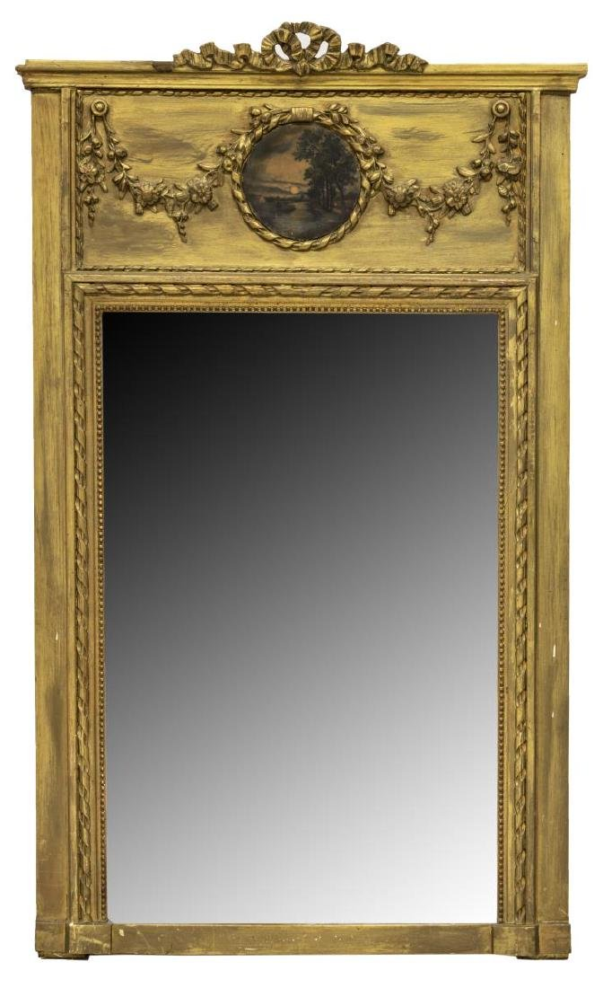 FRENCH TRUMEAU BEVELED MIRROR LANDSCAPE PAINTING