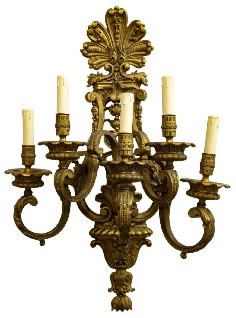 LARGE ORNATE GILT BRONZE FOLIATED 5-LIGHT SCONCE