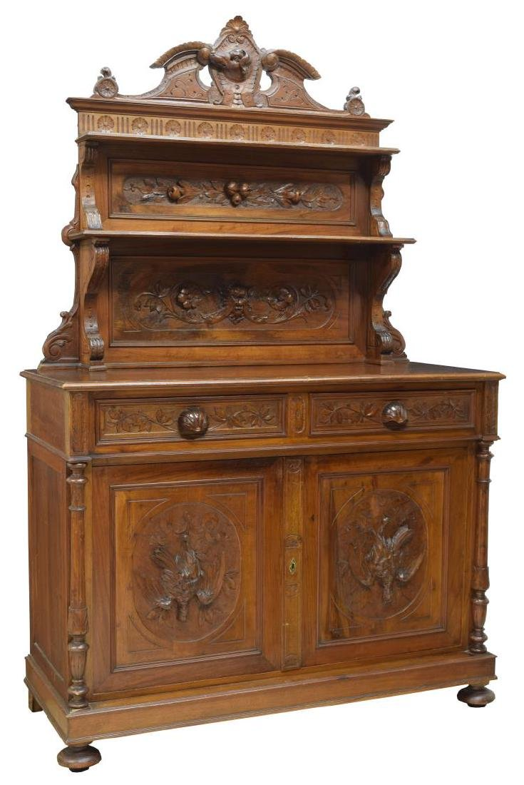 BLACK FOREST CARVED MAHOGANY HUNTING SIDEBOARD