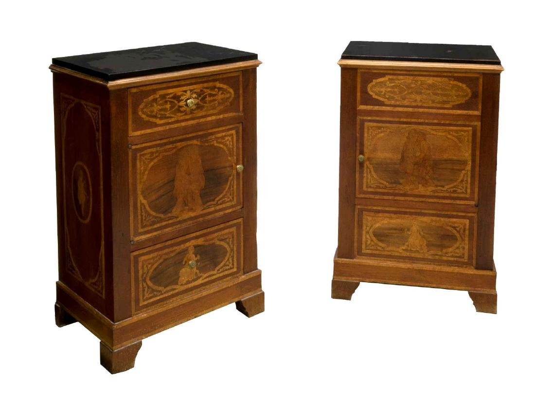 (2) ITALIAN BEDSIDE CABINETS W/ FIGURAL MARQUETRY