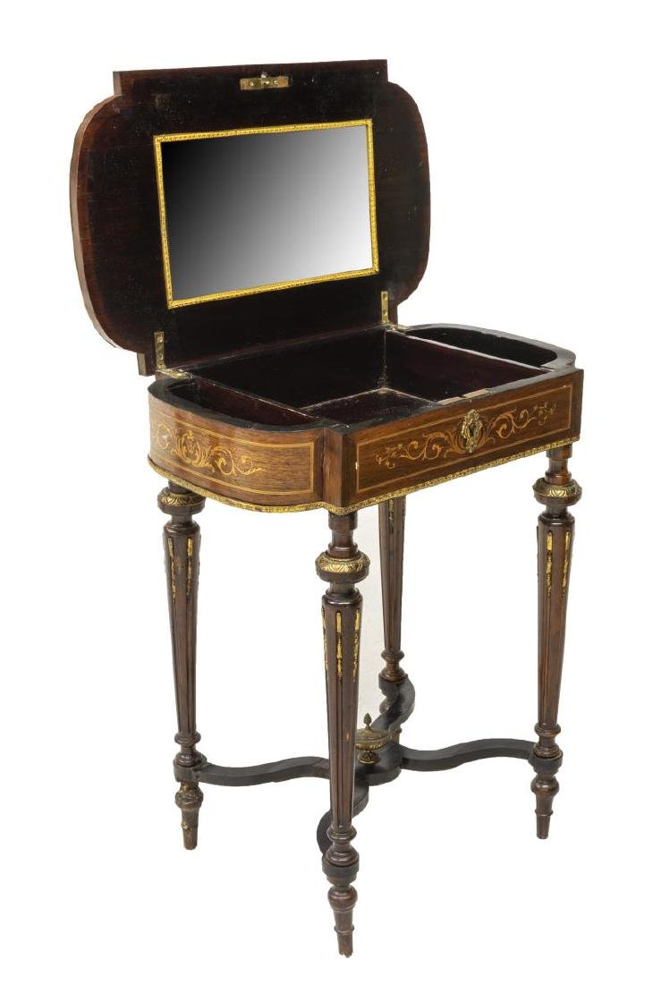 LOUIS XVI STYLE MARQUETRY MIRRORED DRESSING TABLE - 2