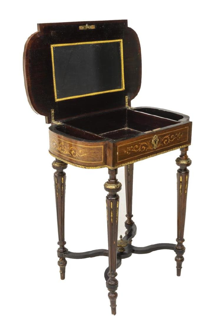 LOUIS XVI STYLE MARQUETRY MIRRORED DRESSING TABLE - 3