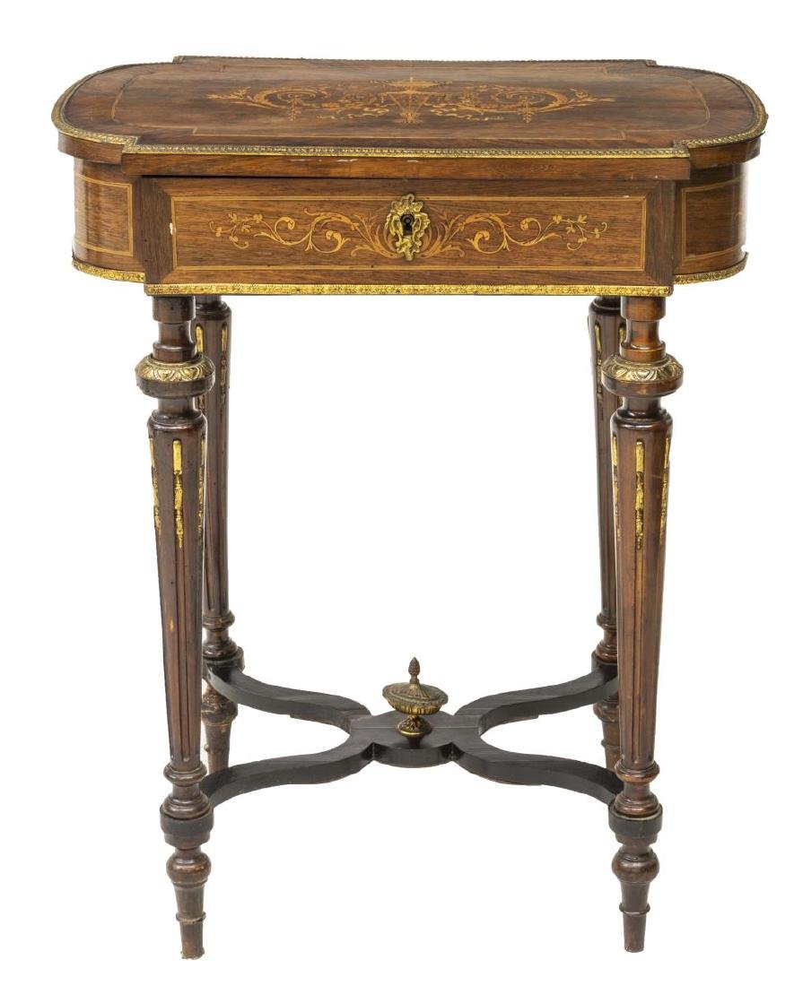LOUIS XVI STYLE MARQUETRY MIRRORED DRESSING TABLE - 4
