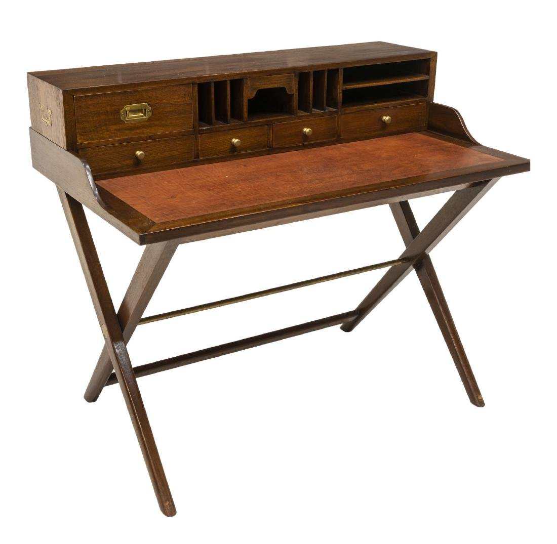 CAMPAIGN STYLE LEATHER TOP WRITING DESK