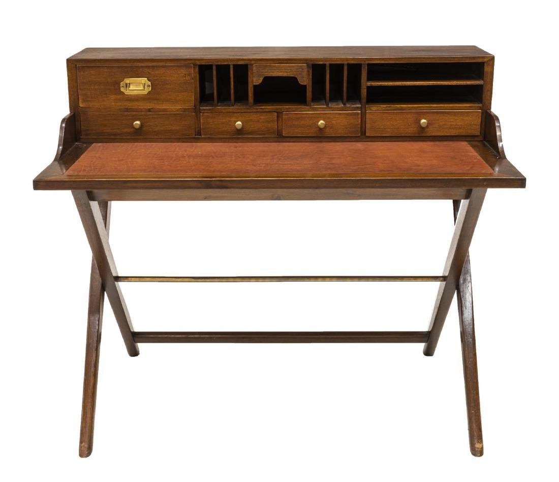CAMPAIGN STYLE LEATHER TOP WRITING DESK - 2