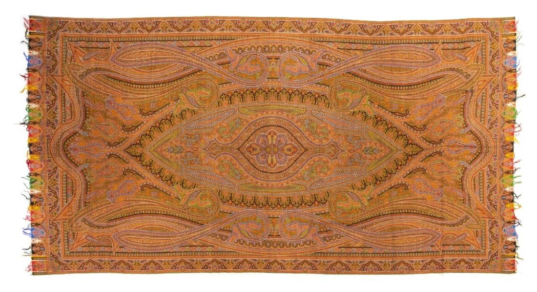 """WOVEN PAISLEY TAPESTRY TEXTILE PIANO SHAWL, 131""""L"""