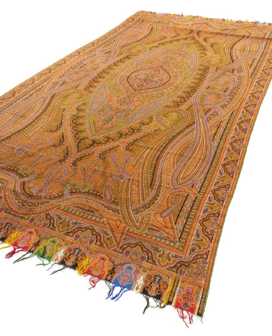 """WOVEN PAISLEY TAPESTRY TEXTILE PIANO SHAWL, 131""""L - 2"""