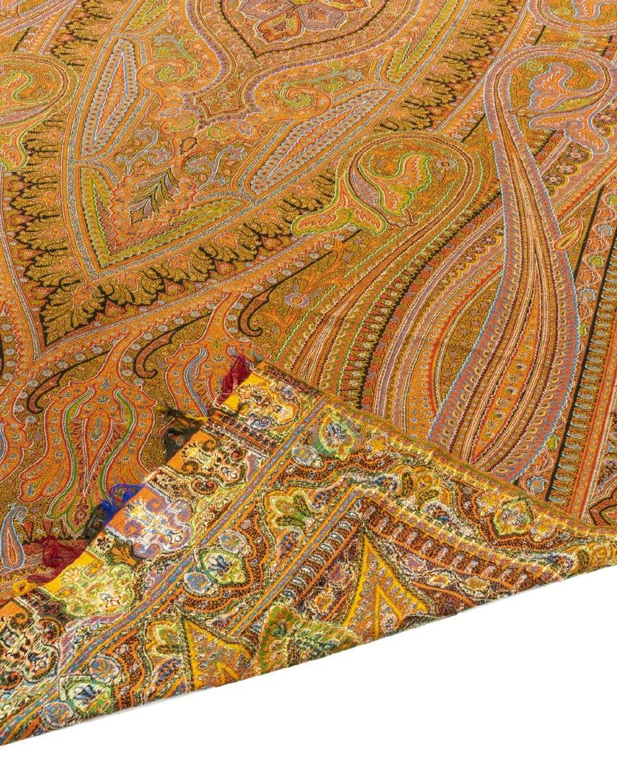 """WOVEN PAISLEY TAPESTRY TEXTILE PIANO SHAWL, 131""""L - 3"""
