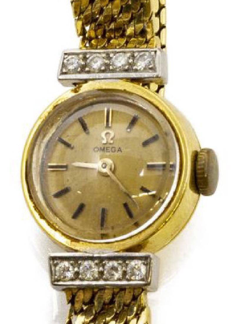 ESTATE LADIES OMEGA 18KT GOLD & DIAMOND WRISTWATCH