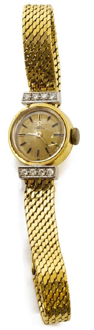 ESTATE LADIES OMEGA 18KT GOLD & DIAMOND WRISTWATCH - 3