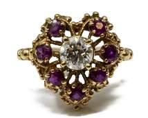 ESTATE 14KT GOLD DIAMOND  RUBY HEART RING