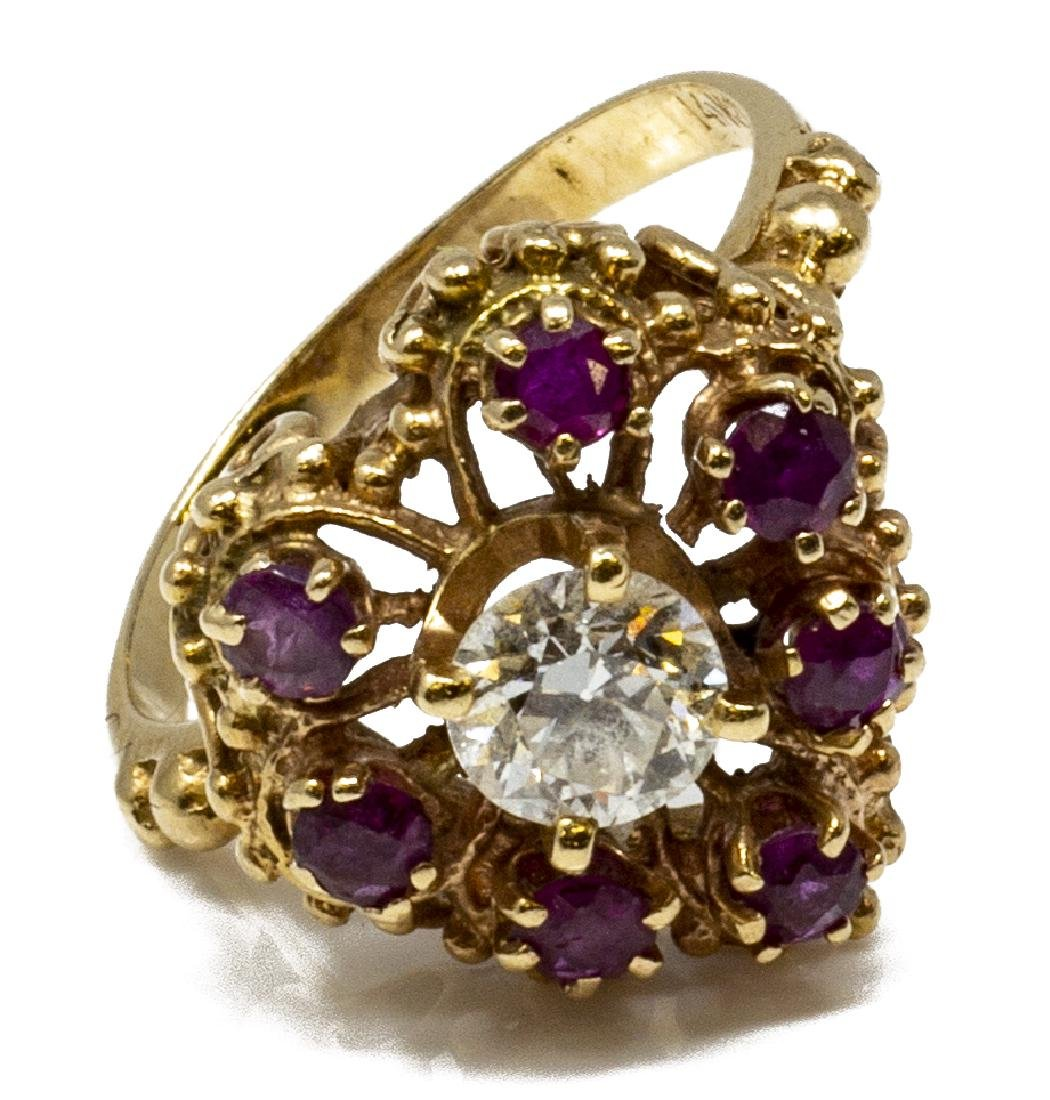 ESTATE 14KT GOLD, DIAMOND & RUBY HEART RING - 2