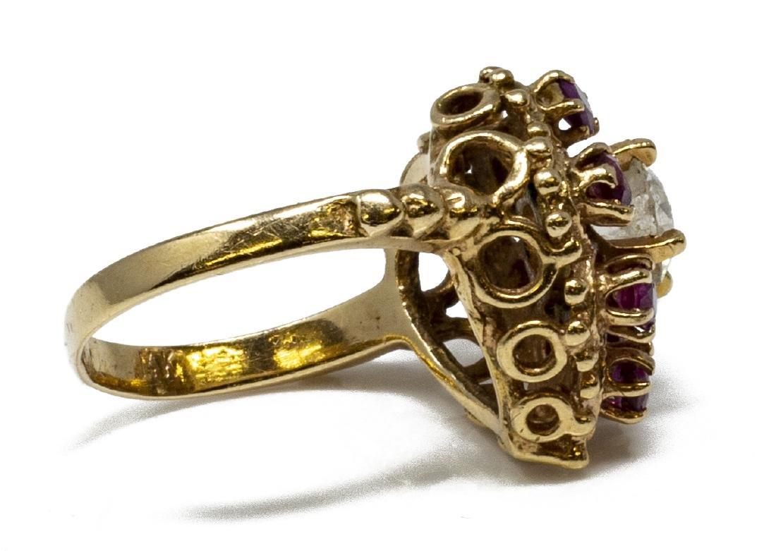 ESTATE 14KT GOLD, DIAMOND & RUBY HEART RING - 4