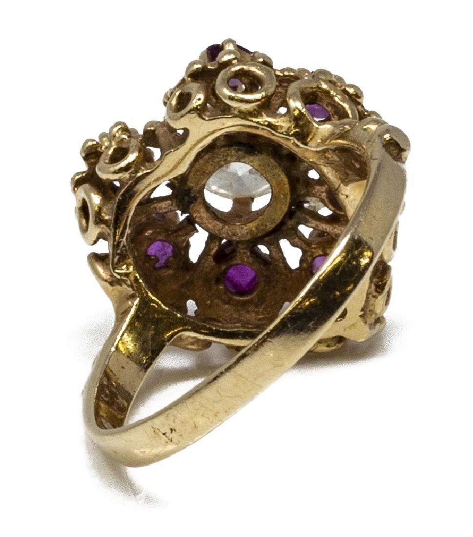ESTATE 14KT GOLD, DIAMOND & RUBY HEART RING - 5