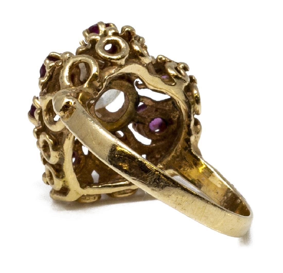 ESTATE 14KT GOLD, DIAMOND & RUBY HEART RING - 6