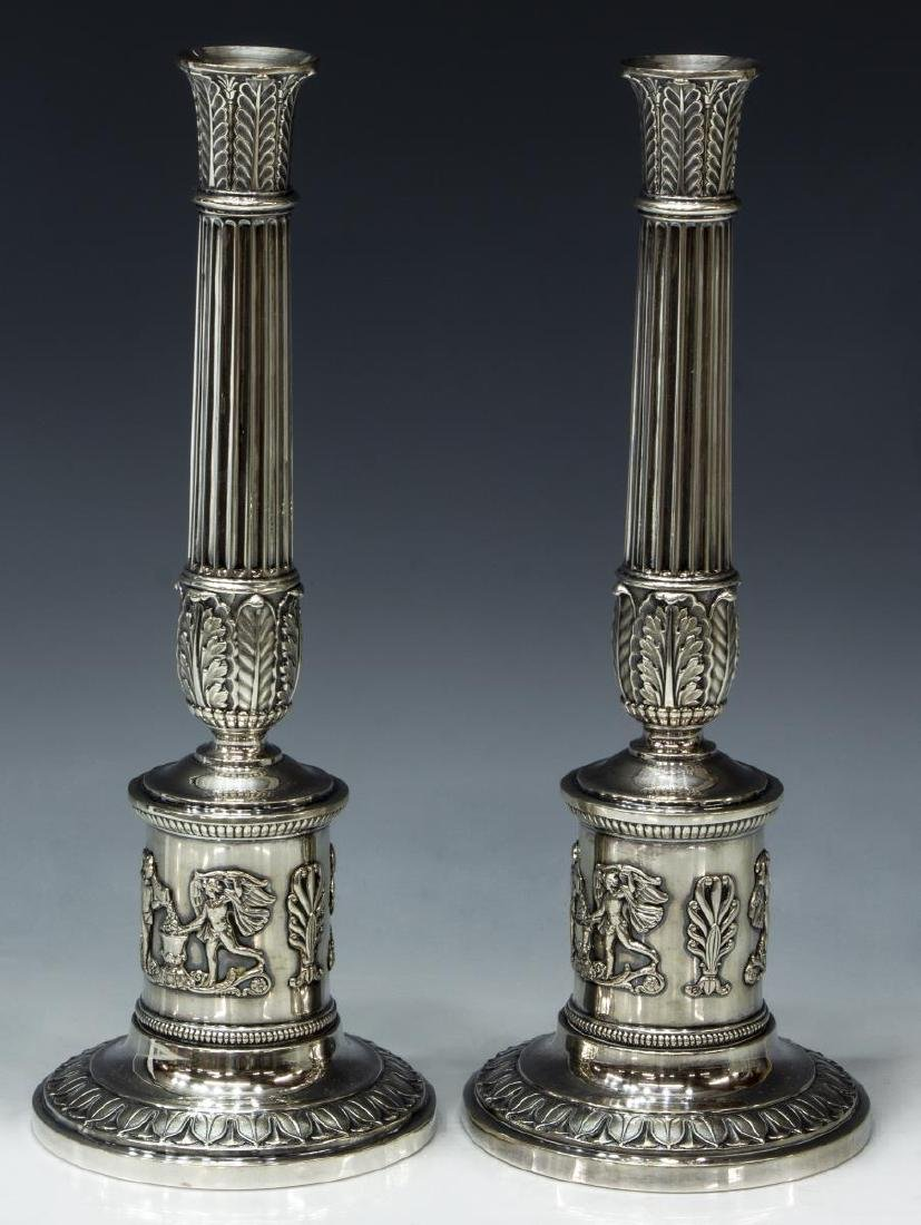 (2) GERMAN NEOCLASSICAL .812 SILVER CANDLESTICKS