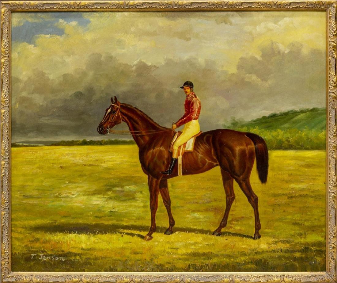 FRAMED OIL ON CANVAS PAINTING, HORSE & JOCKEY