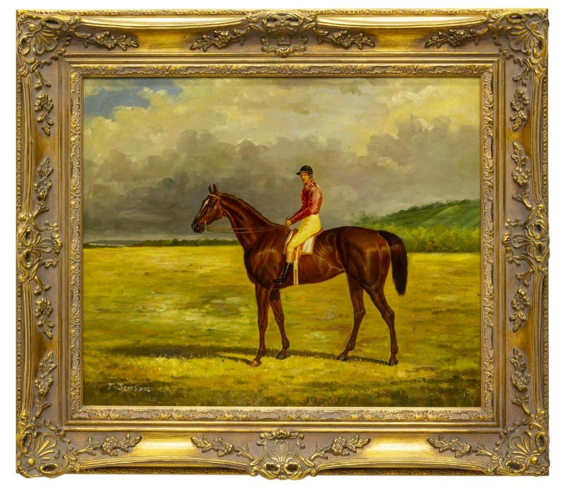 FRAMED OIL ON CANVAS PAINTING, HORSE & JOCKEY - 2