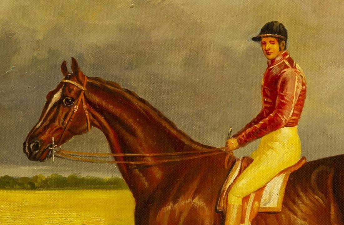 FRAMED OIL ON CANVAS PAINTING, HORSE & JOCKEY - 3