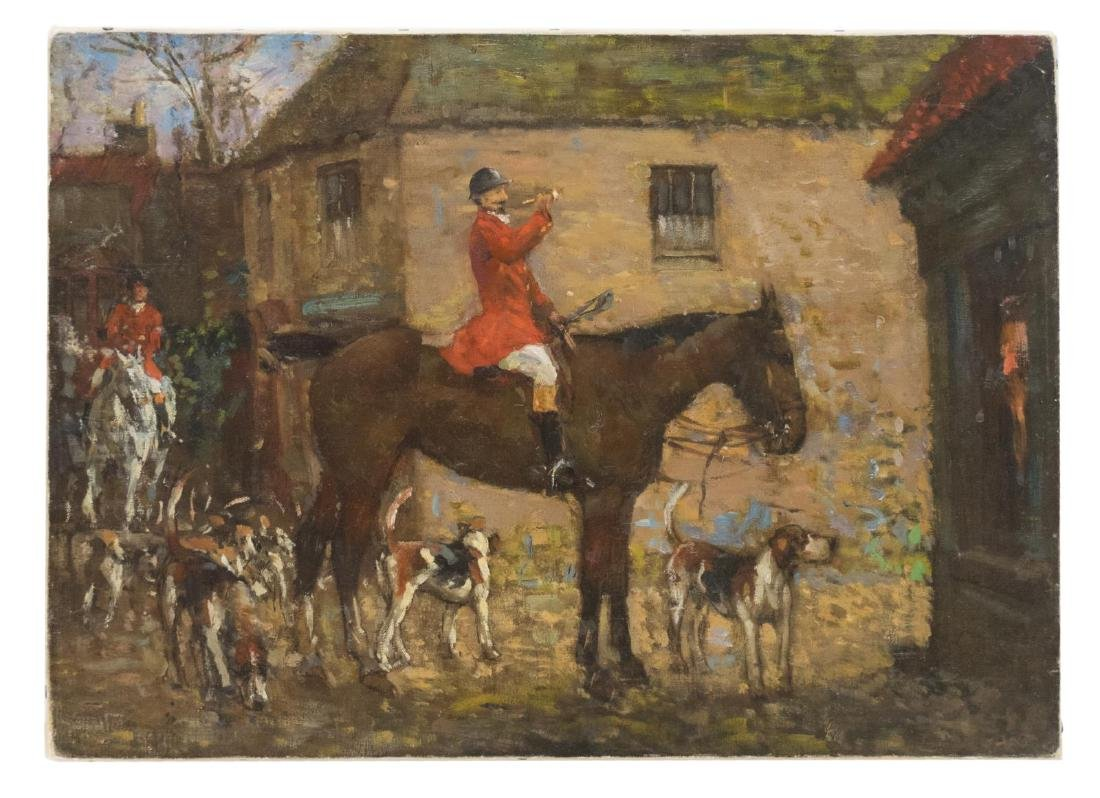 UNFRAMED OIL ON CANVAS PAINTING, HUNTING SCENE