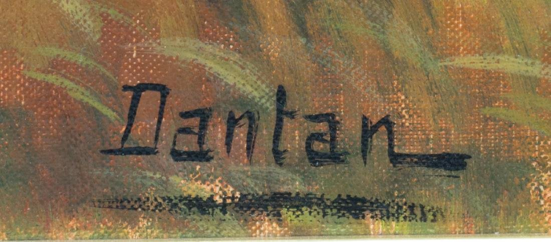 OIL ON CANVAS HUNTING SCENE, SIGNED DANTAN - 4