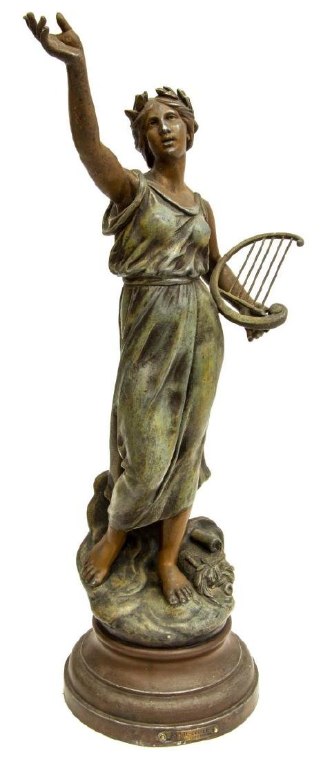 FRENCH PATINATED CAST SPELTER FIGURE SAINT CECILIA