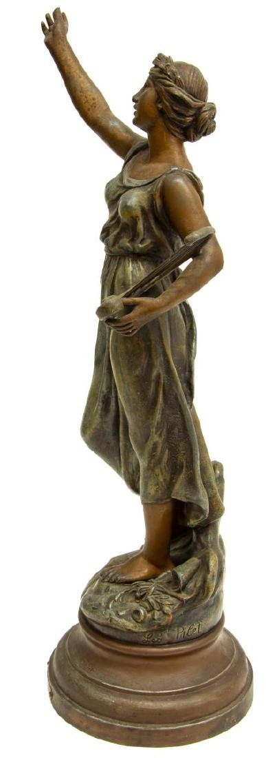 FRENCH PATINATED CAST SPELTER FIGURE SAINT CECILIA - 2
