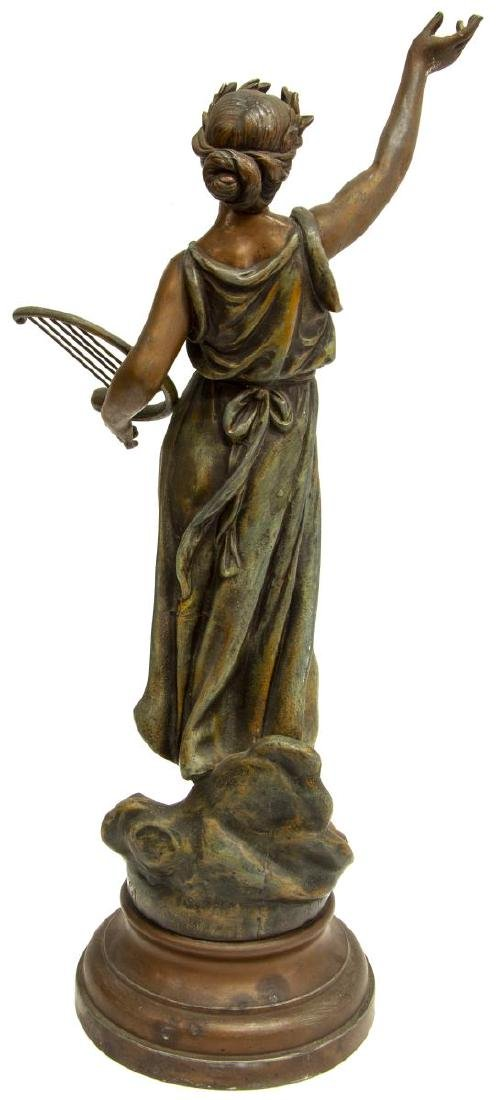 FRENCH PATINATED CAST SPELTER FIGURE SAINT CECILIA - 3