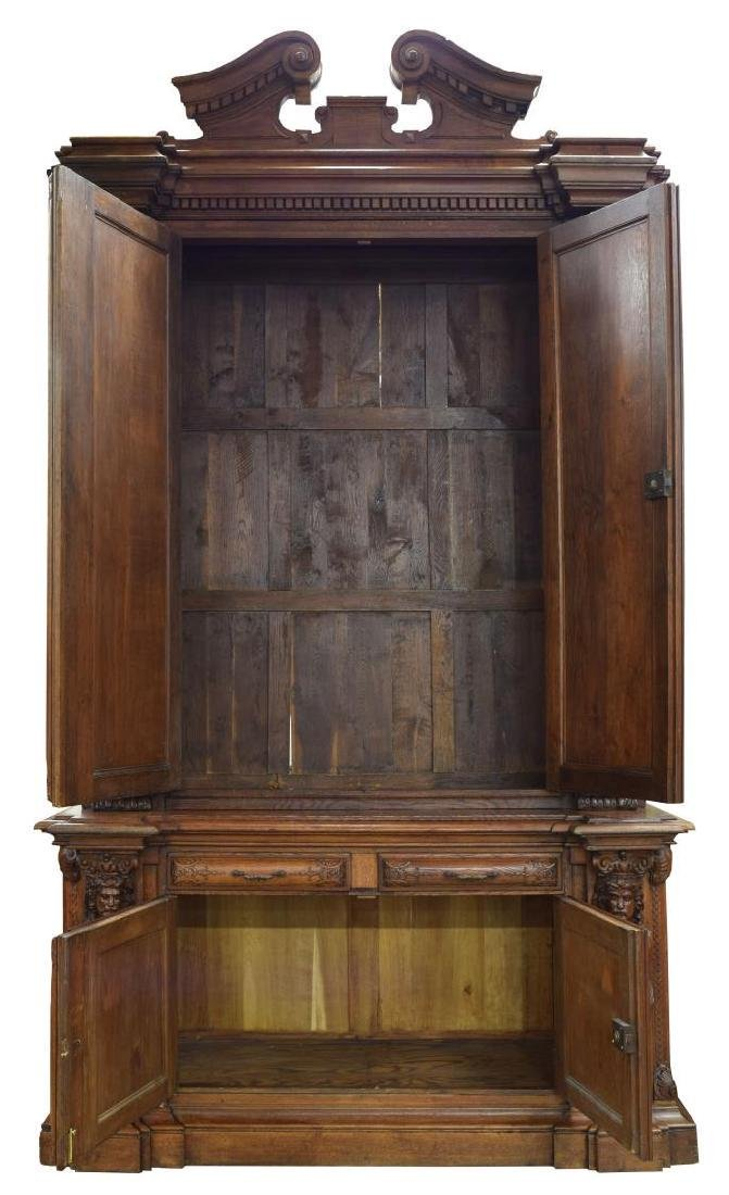 """MONUMENTAL FRENCH FIGURAL CARVED BOOKCASE, 142""""H - 2"""