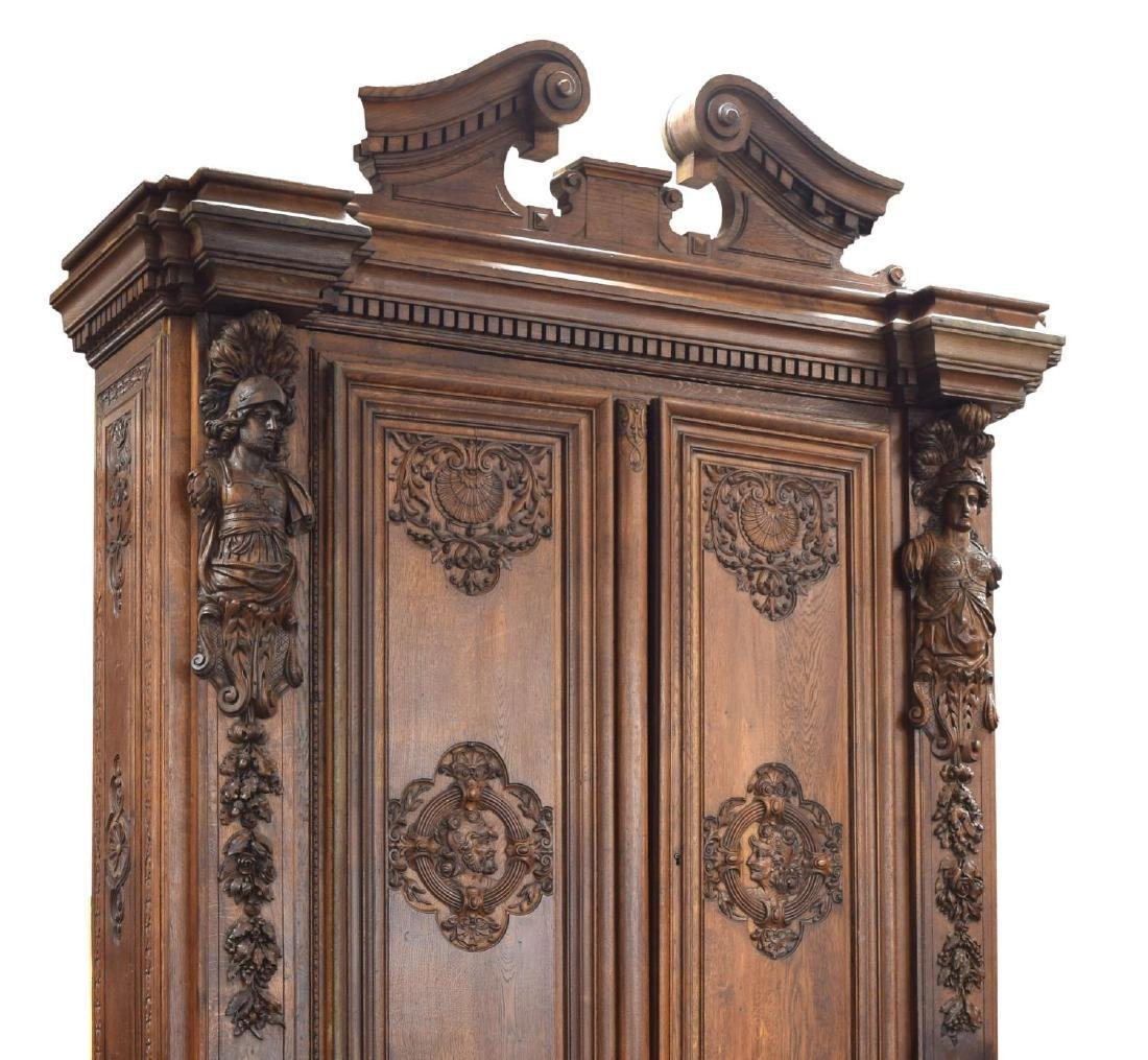"""MONUMENTAL FRENCH FIGURAL CARVED BOOKCASE, 142""""H - 3"""