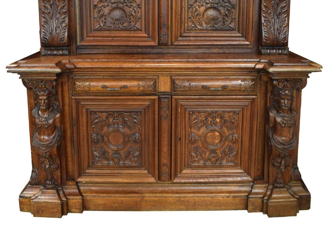 """MONUMENTAL FRENCH FIGURAL CARVED BOOKCASE, 142""""H - 4"""