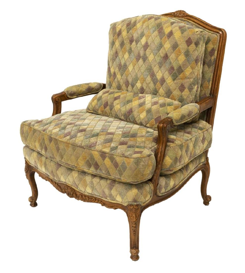 FRENCH STYLE UPHOLSTERED FAUTEUIL ARMCHAIR