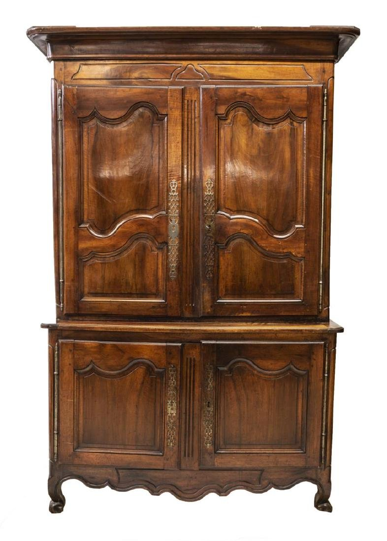 LOUIS XV STYLE CARVED WALNUT BUFFET DEUX CORPS