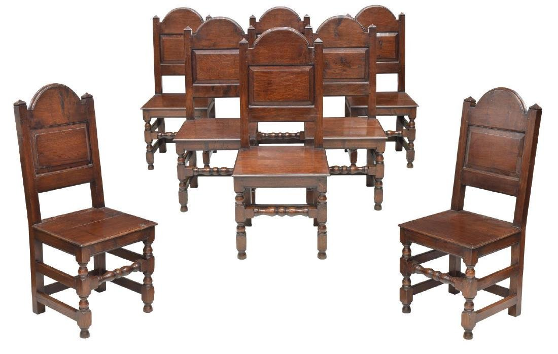 (8) ENGLISH 17TH C STYLE OAK DINING CHAIRS