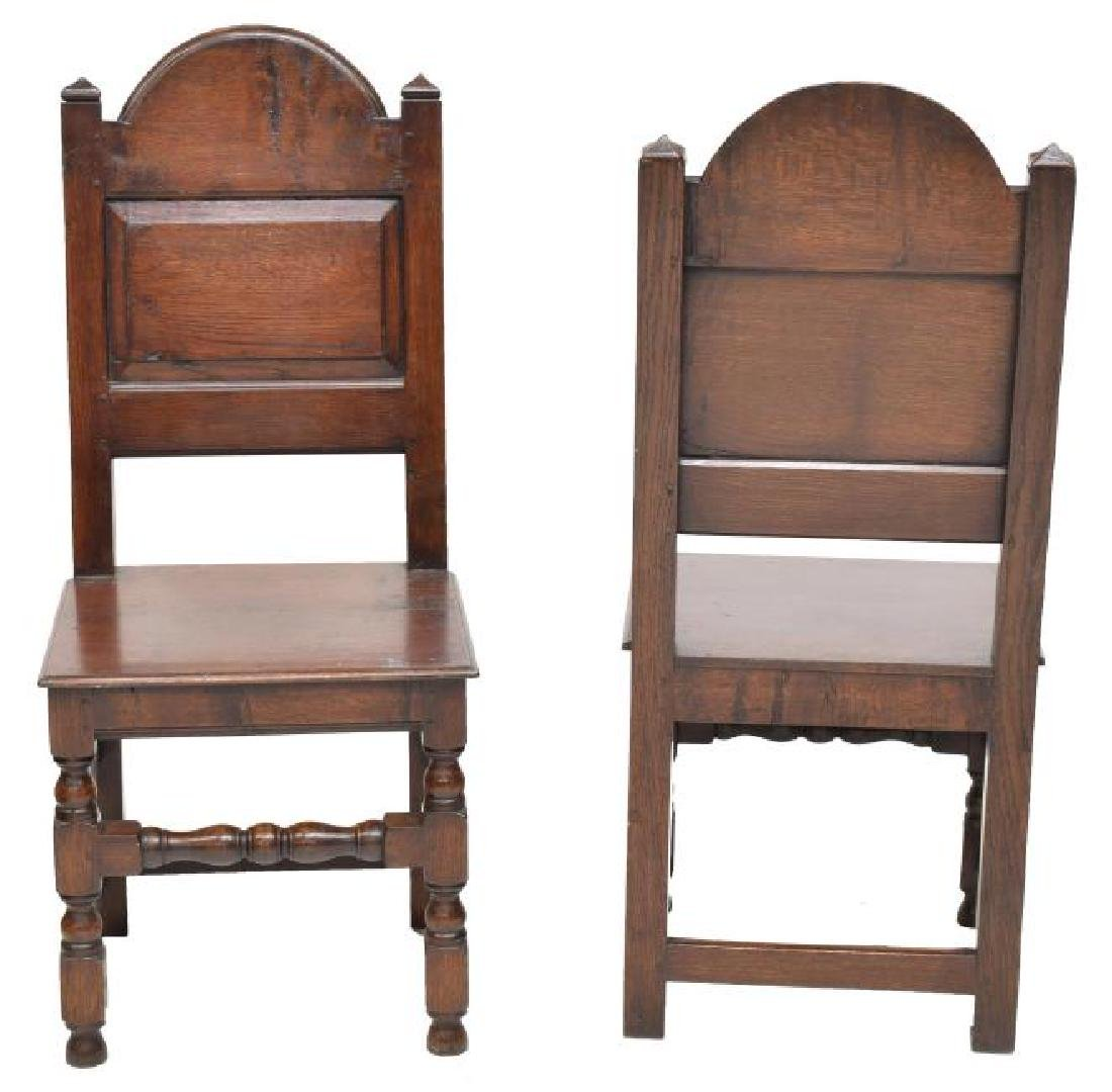 (8) ENGLISH 17TH C STYLE OAK DINING CHAIRS - 3