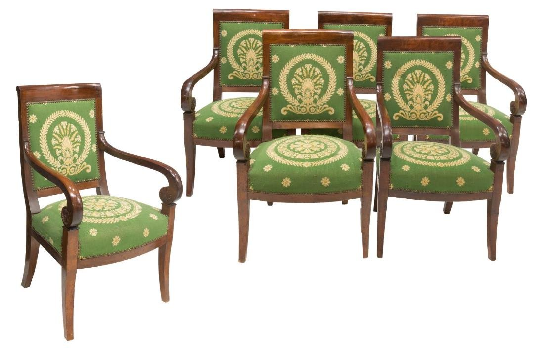 (6) FRENCH EMPIRE STYLE TAPESTRY ARM CHAIRS