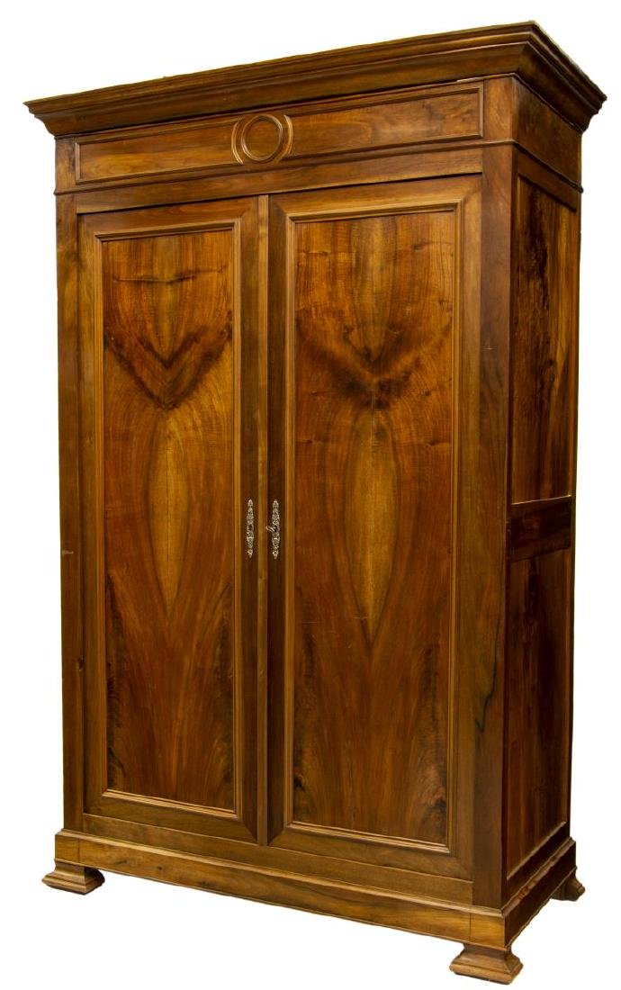 FRENCH LOUIS PHILIPPE WALNUT DOUBLE-DOOR ARMOIRE