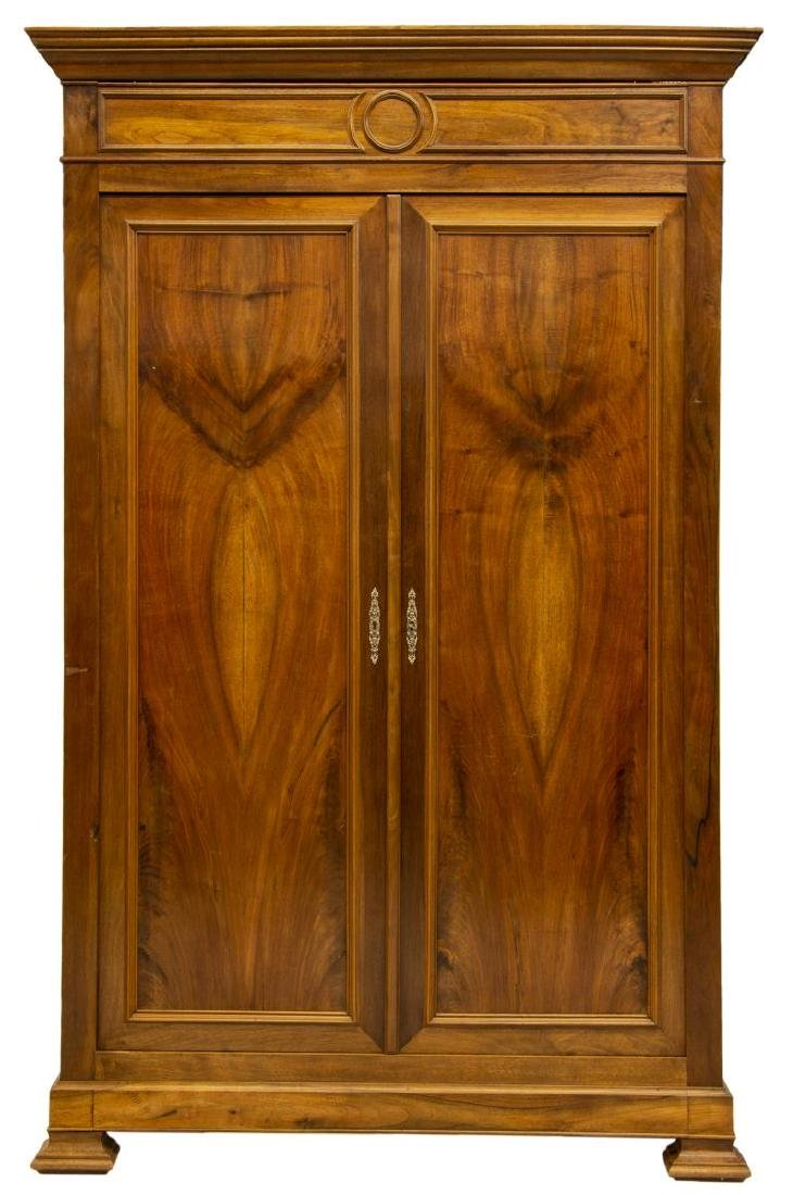 FRENCH LOUIS PHILIPPE WALNUT DOUBLE-DOOR ARMOIRE - 2
