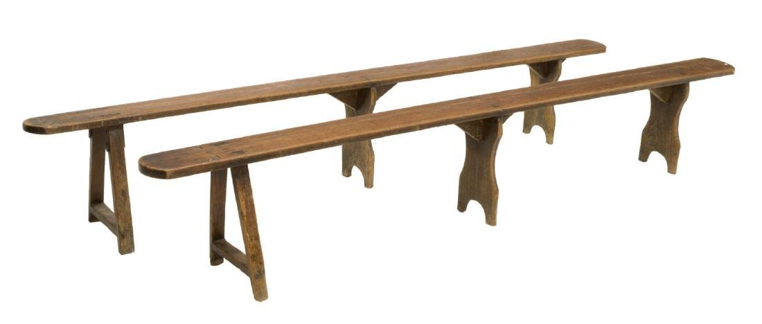 (2) RUSTIC FRENCH FARMHOUSE LONG BENCHES