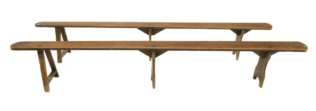 (2) RUSTIC FRENCH FARMHOUSE LONG BENCHES - 2