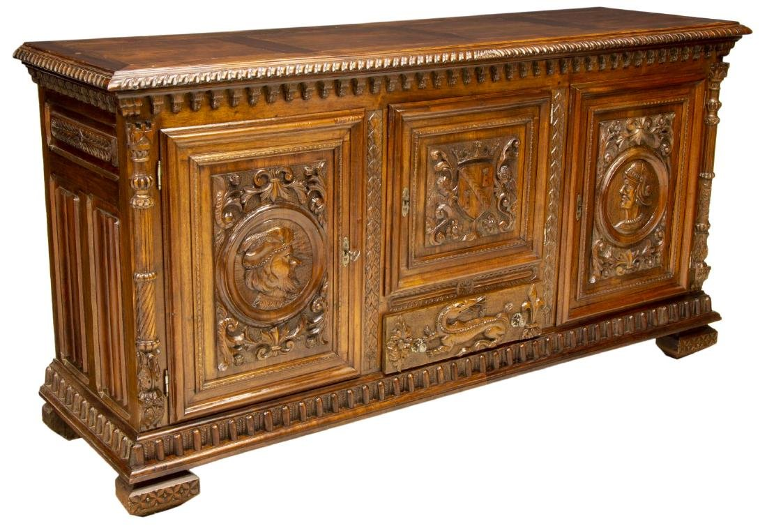 FRENCH HENRI II STYLE CARVED WALNUT BUFFET