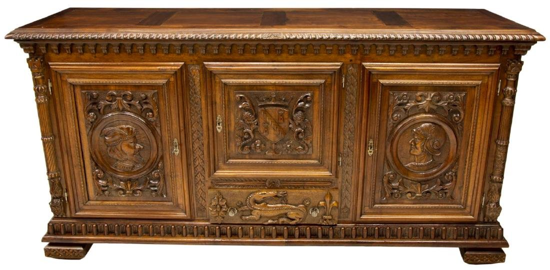 FRENCH HENRI II STYLE CARVED WALNUT BUFFET - 2