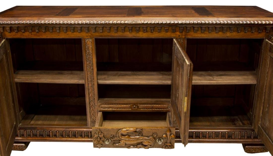 FRENCH HENRI II STYLE CARVED WALNUT BUFFET - 3